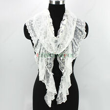 Fashion Women's Sequins Embroidery Lace Floral Mesh Stitching Ruffle Shawl Scarf