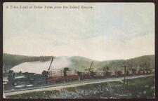 Postcard INLAND EMPIRE Washington/WA  Train Load of Cedar Logs view 1907?