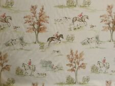 VOYAGE HORSE AND HOUND LINEN COUNTRY 3 PRINTED UK CURTAIN FABRIC COTTON HUNTING