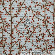 BonEful Fabric FQ Cotton Quilt Red S Berry Tree Xmas Wood Scenic Country Kitchen