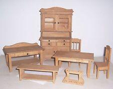 Altes Puppenmöbel Ensemble Puppenschrank Buffet Küchenschrank Holz Stühle Tische