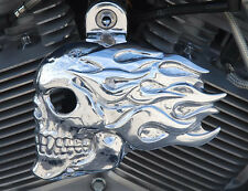 Flaming skull horn cover in polished aluminum.  '92-up Harley-Davidson. FSP-2