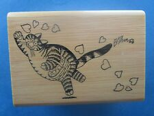 KLIBAN CAT Rubber Stamp CAT SCATTERING HEARTS Valentine Kodomo No Kao