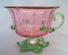 Vintage PINK + GREEN (aka 'Watermelon') Art Glass Tea-Cup, Likely Murano - SUPER