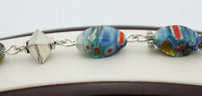 "Sterling Silver .925 Colorful Striped Glass 9"" Fashion Bracelet 14.9g Z668"
