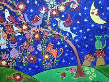 """Il grazioso piccolo Folk Art ALBERO acrilico dipinto su tela 12 """"DA 16"""""""