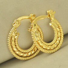 Vintage Yellow Gold Filled Embossed Womens Girls Small Hoop Earrings 17mm