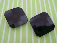 2 Antique Vintage Black Glass Buttons sew craft knit scrapbook jewelry handbag