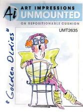 NEW ART IMPRESSIONS RUBBER STAMP sitting lovelle cling lady chair free USA ship