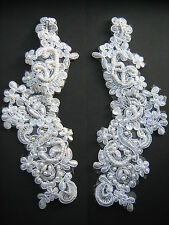 White Beaded Sequin Embroidered  Applique x 2   Sewing/Costume/Bridal/Victorian