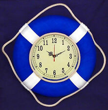 """Blue Cloth Covered 14"""" Nautical Decor Life Ring Wall Clock With White Ties"""