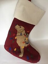Pottery Barn Crewel Stocking TANGLED LAB Dog String Lights ~ NWT~ CHRISTMAS