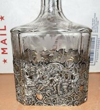 INCREDIBLE Antique Victorian Sterling Silver Overlay Decanter Etched Bottle