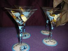 """SET OF 4 HANDPAINTED STORK """"IT'S A BOY"""" BABY SHOWER THEMED MARTINI GLASSES CUTE!"""