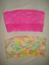 Lot of 2 Victoria Secret PINK Bra Lace Bandeaus Bralette Pink Floral XSmall NEW