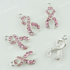 5Pcs Pink Czech Crystal Fashion Women Jewerly Ribbon Silver Pendant Spacer Beads