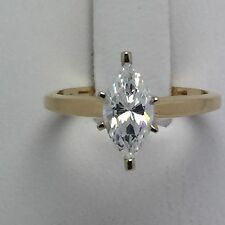 14K YELLOW GOLD DIAMONIQUE CZ MARQUISE CUT ENGAGEMENT RING SIZE 6