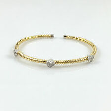 925 Sterling Silver Ladies Mesh Cuff Bangle Heart CZ Gold Bracelet 6.41gr 7""