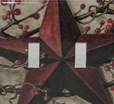 PRIMITIVE Country Barn Star Berries Double Switch plate Light Cover