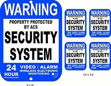 Aluminum YARD SIGN & 4 Vinyl Window Security Decals Video Surveillance Alarm