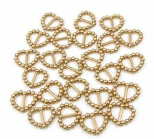 100 PEARLISED HEART SHAPED RIBBON SLIDER BUCKLES - GOLD FOR WEDDING INVITES