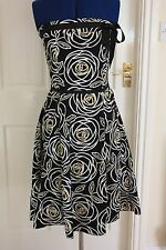 Dorothy Perkins size 12 Black yellow white strapless knee length dress A line