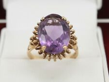 Amethyst 9ct Gold Ring Stunning Ladies Solid 375 Size O D97
