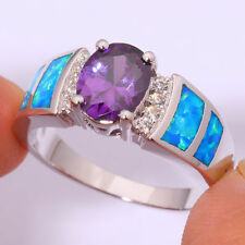 Amazing  Fire Blue  Opal  Amethyst White Topaz   Ring 925 silver Size 9