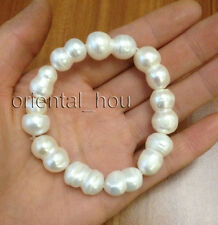 Huge Natural White Baroque Freshwater Pearl Stretch Bracelet