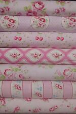 7 Fat Quarters Bundle Tanya Whelan RAMBLING ROSE Pink Fabrics ~ 1.75 yards total