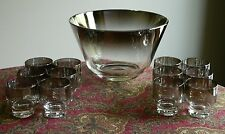 Mid Century Modern Dorothy Thorpe Silver Fade Large Conical Punch Bowl + 12 Cups