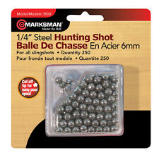 "Marksman 250 COUNT 1/4"" Steel Hunting Shot BBs For All Slingshots 3100"