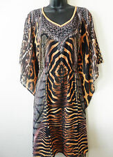 Womens Kaftan top elastic waist short dress dolmon sleeves animal print size S