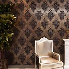 10M/Roll Double Roll Vintage Luxury Classic Grey Damask on Gold Brown Wall paper