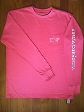 Vineyard Vines Long Sleeve T-shirt, X-Large, pink w/ whale and front pocket, NWT