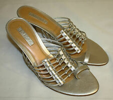 Womens Ladies Unisa Silver Strappy Heels Sandals Shoes Size 9B