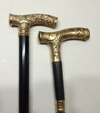 "A Pair Of Antique Gold Filled Handle Walking Sticks Canes 1907 36"" Long Rare"