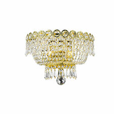 "2 Light Gold Finish D 12"" x H 8"" Empire Crystal Wall Sconce Light Traditional"