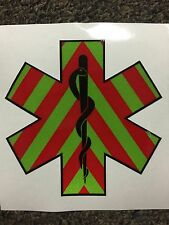 "4"" Star Of Life Chevron Paramedic EMT EMS Medic Vehicle Decal Sticker REFLECTIVE"