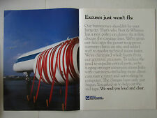 1/1989 PUB PRATT & WHITNEY ENGINE AIRLINE AIRLINER RUBAN ORIGINAL AD