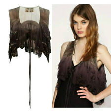 B/NEW ALL SAINTS SILK EMBELLISHED SHRUG GILET VEST TOP COMPLETELY SOLD-OUT £75