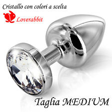 SEX GIOIELLO BUTT PLUG STOPPER ANAL PLUG METALLO SILVER DILDO EGG ADULT MEDIUM