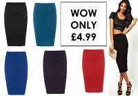 NEW LADIES PLAIN STRETCH WOMENS BODYCON LADIES PENCIL SKIRT SIZE 8 10 12 14