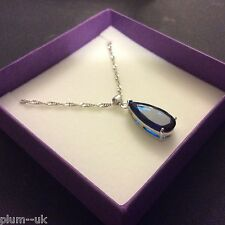 P151 Large Deep Blue Sapphire Pendant & Chain Silver /White Gold gf BOXED PlumUK