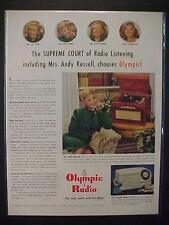VINTAGE ~OLYMPIC RADIO RECORD PLAYER PHONOGRAPH ART PRINT AD~ ORIG ANTIQUE 1947