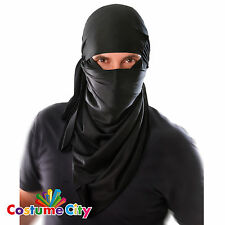 Adulti Uomo Nero Ninja Guerriero HOOD Fancy Dress Party Maschera Accessorio Costume