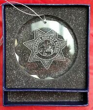 "California Highway Patrol Logo Center Premier Crystal 3"" Ornament Made in USA"