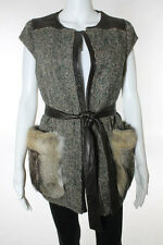 M 1808 Green Brown Wool Tweed Speckled Leather Fox Fur Trim Casual Vest Sz 4