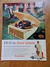 1957 Motorola Stereo HI-FI Phonograph Ad  Portable HI-FI in Fiber Glass