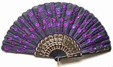 Chinese Silk Purple Bead Embroidered Folding Wedding Party Hand Fan